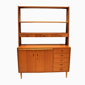Danish Wall Cupboard with Desktop and Removable Teak Bookshelf, 1960s