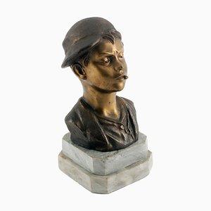 Art Deco Italian Gilt and Burnished Bronze Scugnizzo Bust by Giovanni De Martino, 1920s