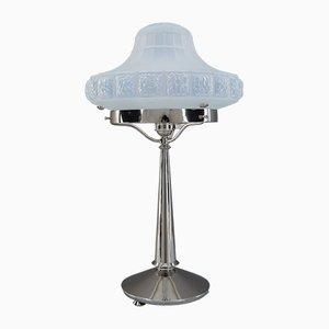 Art Deco Tischlampe mit Schirm aus Opalglas, Wien, 1920er