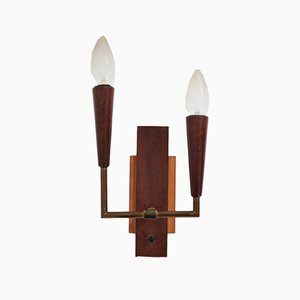 Vintage Teak and Brass 2-Lamp Sconce