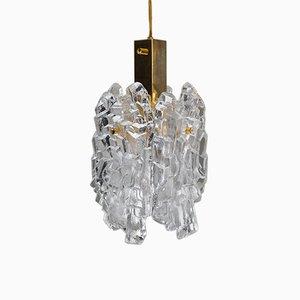 Gilt Ice Glass Pendant Lamp by J. T. Kalmar for Kalmar, 1950s