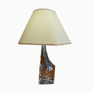 Vintage Tischlampe aus Kristallglas mit cremefarbenem Schirm von Crystal Ile de France
