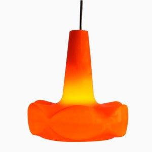 Lampe à Suspension Vintage en Verre Opalin Orange, 1960s