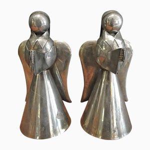 Angeli vintage in metallo, anni '40, set di 2