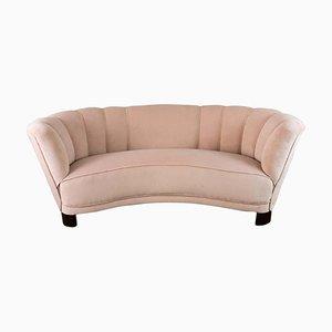 Dänisches rundes gebatiktes Sofa in Blush Pink, 1940er