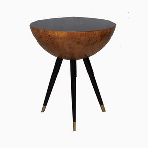 Italian Poplar Wood and Brass Round & Flat Side Tables, 1930s, Set of 2