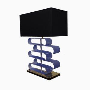 Mid-Century Murano Transparent Blue, Art Glass & Brass Table Lamp, 1970s