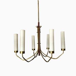 Lámpara de araña italiana Mid-Century de latón y vidrio opalino de 6 brazos en el estilo de Arredoluce