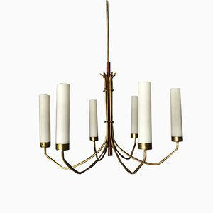 Mid-Century Italian Brass and Opaline Glass 6-Arm Chandelier in the Style of Arredoluce