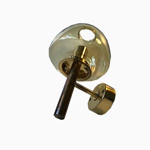 Swedish Brass and Smoked Glass Sconce by Hans-Agne Jakobsson for Markaryd, 1960s