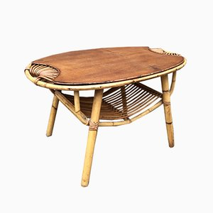 Rattan and Bamboo Coffee Table, 1950s