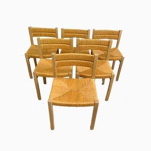 Sedie da pranzo in paglia di Pierre Gautier Delaye, anni '60, set di 6