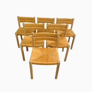 Straw Dining Chairs by Pierre Gautier Delaye, 1960s, Set of 6