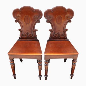 Occasional Mahogany Hall Chairs, 1900s, Set of 2