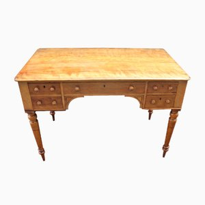 Satin Wood Desk on Turned Legs, 1900s