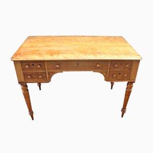 Schreibtisch aus satiniertem Holz mit geschwungenen Beinen, 1900er