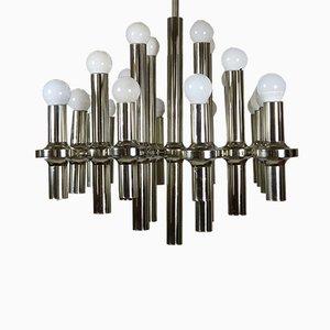Lámpara de araña grande de 20 luces de Gaetano Sciolari para Sciolari, años 70