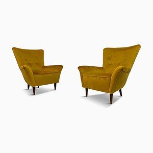 Kleine Italienische Senffarbene Samt Sessel, 1950er, 2er Set