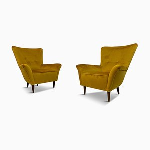 Small Italian Mustard Velvet Armchairs, 1950s, Set of 2