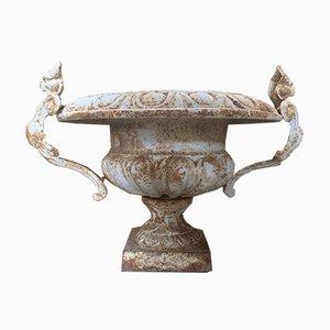 Französische Mid-Century Gusseisen Urnen, 2er Set