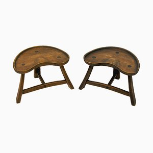 Norwegian Pinewood Stools from Krogenæs Møbler , 1970s, Set of 2