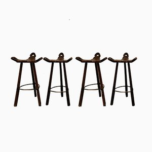 Mid-Century Brutalist Bar Stools, 1950s, Set of 4
