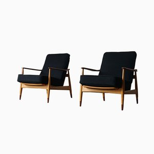 Danish Beech and Teak Model 161 Lounge Chairs by Arne Vodder for France & Søn / France & Daverkosen, 1960s, Set of 2