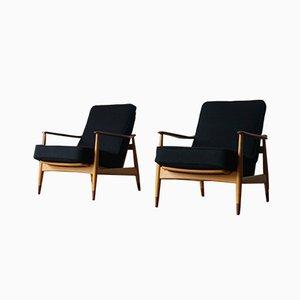 Danish Beech and Teak Model 161 Lounge Chairs by Arne Vodder for France & Søn / France & Daverkosen, 1960s, Set of 2