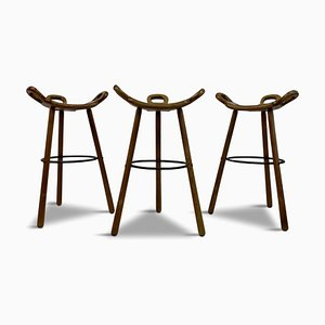 Brutalist Spanish Stools, 1970s, Set of 3