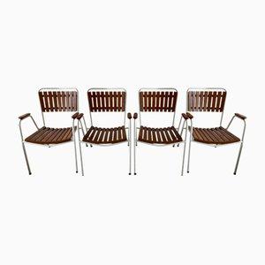 Dänische Vintage Gartenstühle aus Teak & Stahl von Daneline, 4er Set