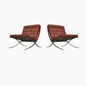 Poltrone Barcelona vintage di Ludwig Mies van der Rohe per Knoll Inc. / Knoll International, anni '50, set di 2