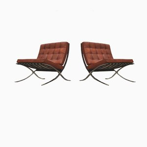 Vintage Barcelona Easy Chairs by Ludwig Mies van der Rohe for Knoll Inc. / Knoll International, 1950s, Set of 2