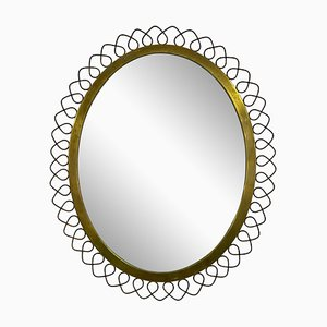 Swedish Patinted Brass Mirror, 1950s