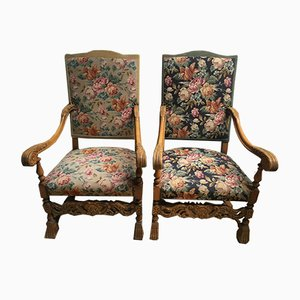 Baroque Throne Armchairs, 1930s, Set of 2