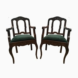Vintage Louis XV Style Dining Chairs, 1940s, Set of 2