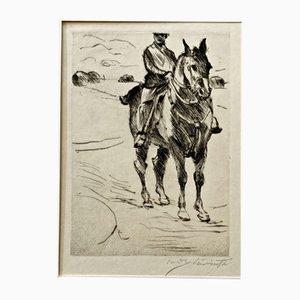 Gravure à l'eau-Forte Impressionist Rider II par Lovis Corinth, 1916