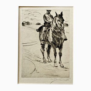 Impressionist Rider II Etching by Lovis Corinth, 1916