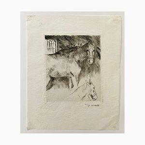 Impressionist Stable Radierung von Lovis Corinth, 1914