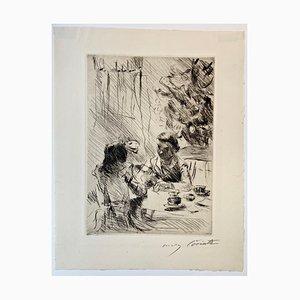 Gravure à l'Eau-Forte Impressionniste Sous le Sapin de Noël par Lovis Corinth, 1918