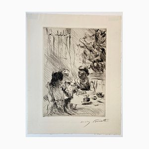 Impressionist Under the Christmas Tree Etching by Lovis Corinth, 1918