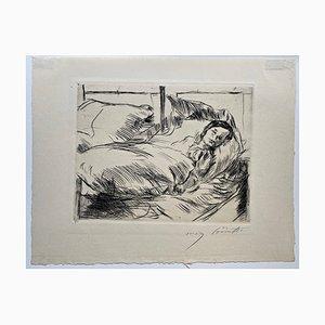 Gravure The Sick Child par Lovis Corinth, 1918