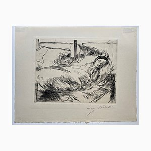 Incisione Impressionista The Sick Child di Lovis Corinth, 1918