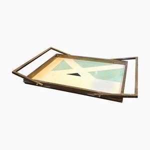 Italienisches Rechteckiges Mid-Century Messing Tablett, 1960er