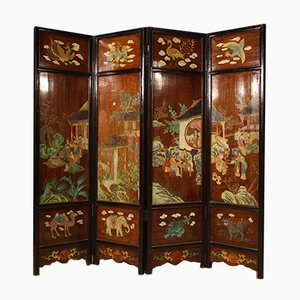 Biombo chino lacado y pintado, años 60
