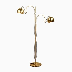 Vintage Double Arch Brass Balls Floor Lamp from Gepo, 1970s