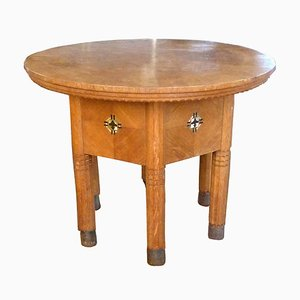 Antique Secessionist Round Oak and Hammered Copper Coffee Table, 1890s