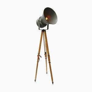 Industrial Wooden and Gray Metal Tripod Spot Floor Lamp
