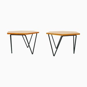 Hexagonal Modular Coffee Table in Ash and Metal by Gio Ponti for ISA, 1950s