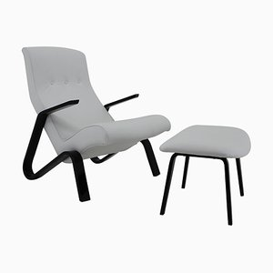 Grasshopper Chair and Stool by Eero Saarinen for Knoll, 1950s, Set of 2