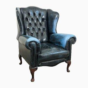 Blauer Vintage Chesterfield Sessel aus Leder